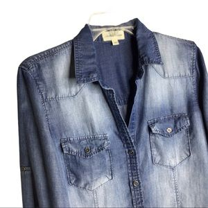 Cloth and Stone Chambray Medium Wash Denim Shirt